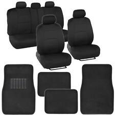 9 Piece Car Seat Covers Set Black and Black w/ 4 Piece Black Carpet Floor Mats