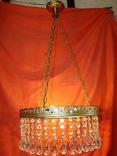 lustre circulaire avec monture laiton et gouttes de cristal diamètre 42cm