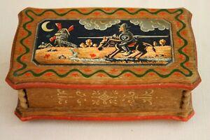 Don Quixote Anri Wood Music Box Reuge Swiss Mvmt Hand Crafted Book Theme Paintin