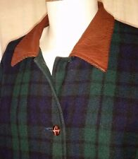 EXC Mens REVERSIBLE Canvas Green Tartan Plaid Field Coat Jacket Medium Colebrook