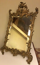 Antique 19th C. Ornate Rococo Gilded Cast Iron Easel Beveled Glass Mirror 15�