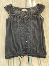 Abercrombie & Fitch Womens Sheer Floral Lace Top Size Small Blouse Navy Blue