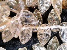 vtg 100 TRANSPARENT LIGHT TOPAZ VEINED GLASS LEAVES 10mm TOP HOLE  #041115l