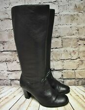 Womens Black Leather Pull On High Heel Knee High Boots Shoe Size UK 5 EUR 38