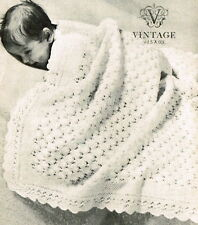 Vintage knitting pattern-how to make a pretty lace baby christening shawl