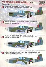 Print Scale Decals 1/48 V1 FLYING BOMB ACES P-51 Mustang Fighters