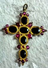 "EUC Cross Pendant, 19 Rubies & 6 Sapphires in18 kt Yellow Gold  1.38""T x 1.12"" W"