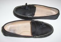 LANDS END  Women's 10 B Moc Driving Loafers Slip On Shoes Black Pebbled Leather