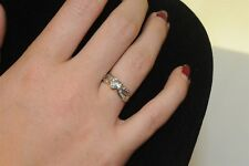 Aquamarine heart shaped ring 10k gold band size 7
