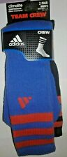 Men's ADIDAS Climalite Compression Arch Odor Resistant Crew Socks 2Pk 6-12 Blue