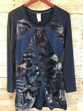 Dolcezza Women's SZ S Tunic Top Blue Gray Abstract Long Sleeve Shirt Dress