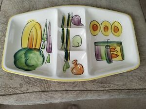 """Vintage Los Angeles Potteries #45 Divided Tray Plate 19""""  Platter Dish 1961"""