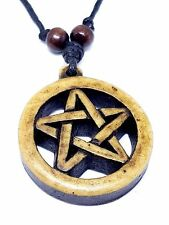 CHUNKY PENTACLE Pendant Necklace,Adjustable Cord, Wooden Beads Pagan, Wiccan  kd