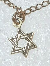 14K yellow gold Star of David pendant & Ajc 14 K chain necklace Israel Jewish