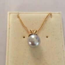 """9ct Gold Cultured 6mm Pearl Pendant 16""""'9ct Chain - NEW RRP £120"""