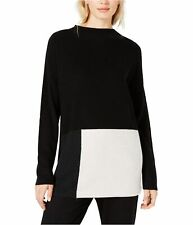 Eileen Fisher Womens Colorblock Knit Sweater, Black, X-Large