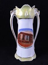 ANTIQUE/VINTAGE GERMAN MADE SOUVENIR CHINA VASE PUBLIC LIBRARY DAVENPORT IOWA