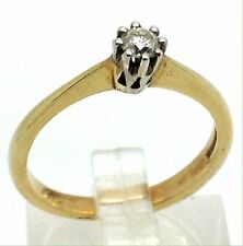 9ct Gold Diamond Solitaire Ring, 0.15CT, New, UK Size N. Claw set. UK seller.