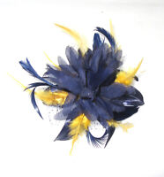 Navy and  yellow comb fascinator for Ascot , Races, Weddings, Ladies Day