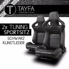 2x auto asiento deportivo asiento deportivo racingseat negro cuero sintético cáscaras sede sportseats