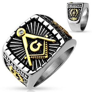 316L Edelstahl Ring Freimaurer Masonic Zirkel Auge Siegel Bund Zirkel Herren
