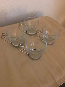Set of 4 Clear mugs Vitrosax/Bormioli Expresso coffee Glass cups w/ metal Handle