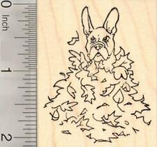French Bulldog Dog Sitting in Autumn Leaves, Thanksgiving Rubber Stamp H19009 WM