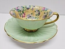 SHELLEY CHINA OLEANDER SHAPE GREEN W/ YELLOW CHINTZ FLORAL CUP AND SAUCER
