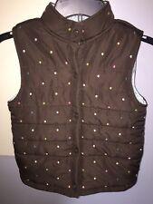Gymboree Girls Puffer Vest Brown Polka Dot Large 10 12
