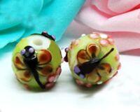 10pcs handmade Lampwork glass beads glass dragonfly round 15mm