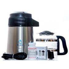 Heavy Duty 316 Megahome De Acero Inoxidable Negro agua destilador Con Jarra De Vidrio