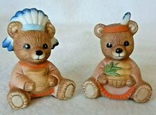 Thanksgiving Pilgrim Indian Porcelain Teddy Bear Figurine Set of 2 Mint, Lot A4