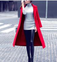 Women's Double-Breasted Lapel Trench Coat Slim Long Overcoat Outwear Stylish