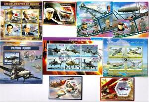 Military, War, Aviation x 9 Souvenir Miniature Sheets CTO Used