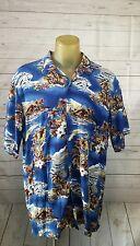 5* MENS HILO HATTIE HAWAIIAN sz 2XL waves/canoes Print SHIRT ~ MADE in HAWAII