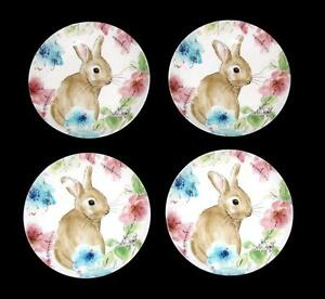 """4 BASTIA Brown Bunny Colorful Flowers 222 Fifth 6-1/2"""" Appetizer Plates NWT"""