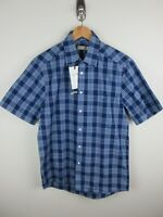 RM Williams Mens Hervey Shirt Size M Short Sleeve Button Up Blue Plaid New