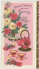 VINTAGE ASIAN TEA POT TEA CUPS TEAPOT PEONIES PEONY FLOWERS WISHES CARD PRINT