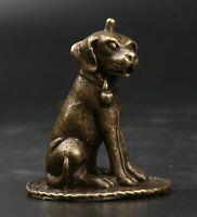 51MM China Fengshui Bronze 12 Zodiac Animal Small Bell Dog Amulet Pendant Statue