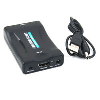 HDMI to SCART Composite Video Converter Stereo Audio Adapter with Cable Black