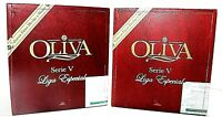 Wood Cigar Boxes-SET OF  2  RED Square Oliva 6.5 x 7 x 4 Slide Top Craft Project