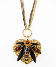 BETSEY JOHNSON 'Hollywood Glam' Leopard Heart Locket Pendant Long Necklace $65