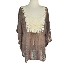 Maurices Womens 2X Lace Top Relaxed Cotton Nylon Spandex Caftan Sleeve Brown