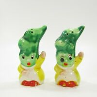 Vintage Anthropomorphic Pea Pod Head People Salt Pepper Shaker Set Japan INV249