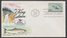 US Mel 1079-11 FDC. 1956 3c King Salmon Wildlife Conservation, Fluegel Cachet VF