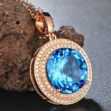 Very Beautiful Solid 14K Rose Gold Natural Blue Sparkly Topaz VS Diamond Pendant