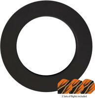 Plain Rubber Dartboard Dart Board Surround Heavy Duty Ring BLACK + FREE FLIGHTS