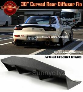"30"" x 12"" Black Universal Rear Bumper 4 Fins Curved Diffuser Fin For Honda Acura"