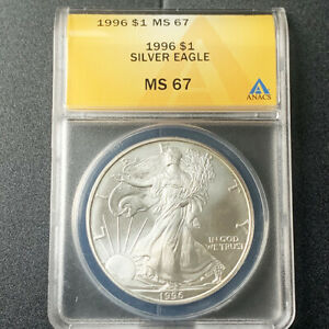1996-P $1 SILVER AMERICAN EAGLE ANACS MS 67 -BALLPARK & SEND OFFER PRICE