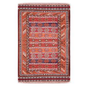 "Southwestern Wool Navajo Kilim Rug Antique Vintage Textile Large 111"" X 60"" 9x5"